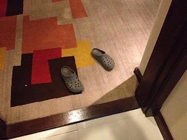 汚い靴で部屋を汚して帰るどこかの国とは大違い